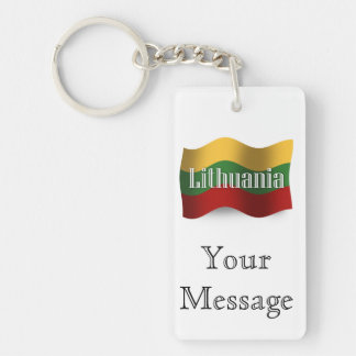 Lithuania Waving Flag Double-Sided Rectangular Acrylic Key Ring