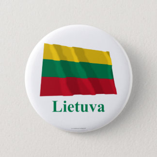 Lithuania Waving Flag with Name in Lithuanian 6 Cm Round Badge