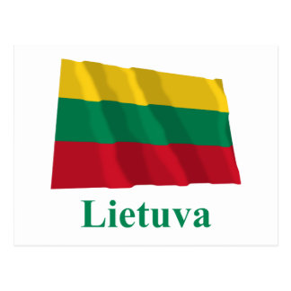 Lithuania Waving Flag with Name in Lithuanian Post Card