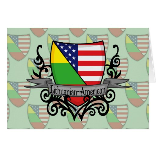 Lithuanian-American Shield Flag Greeting Cards
