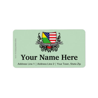 Lithuanian-American Shield Flag Address Label