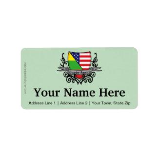 Lithuanian-American Shield Flag Address Label