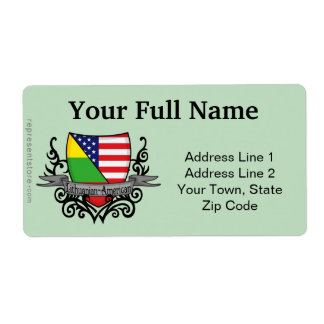 Lithuanian-American Shield Flag Shipping Label