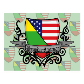 Lithuanian-American Shield Flag Postcard