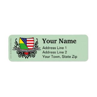 Lithuanian-American Shield Flag Return Address Label