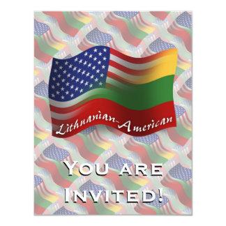 Lithuanian-American Waving Flag 11 Cm X 14 Cm Invitation Card