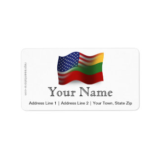 Lithuanian-American Waving Flag Address Label