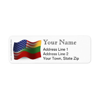 Lithuanian-American Waving Flag Return Address Label