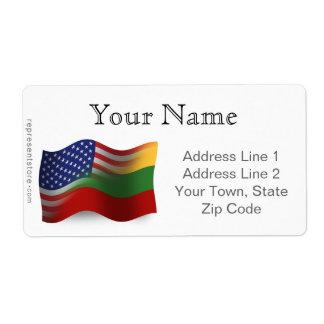 Lithuanian-American Waving Flag Shipping Label