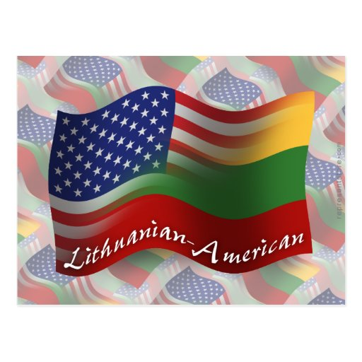 Lithuanian-American Waving Flag Post Card