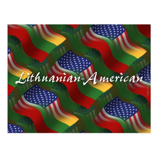 Lithuanian-American Waving Flag Post Cards