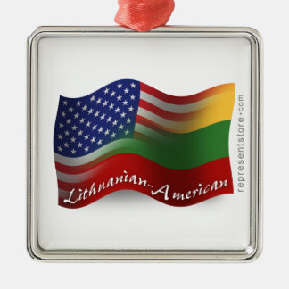 Lithuanian-American Waving Flag Silver-Colored Square Decoration