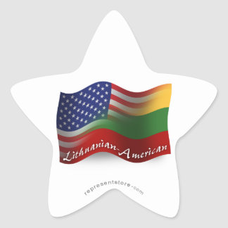 Lithuanian-American Waving Flag Star Sticker