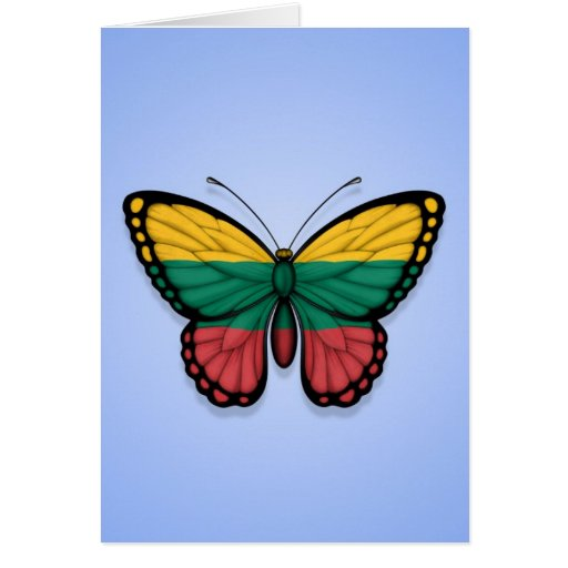 Lithuanian Butterfly Flag on Blue Greeting Cards