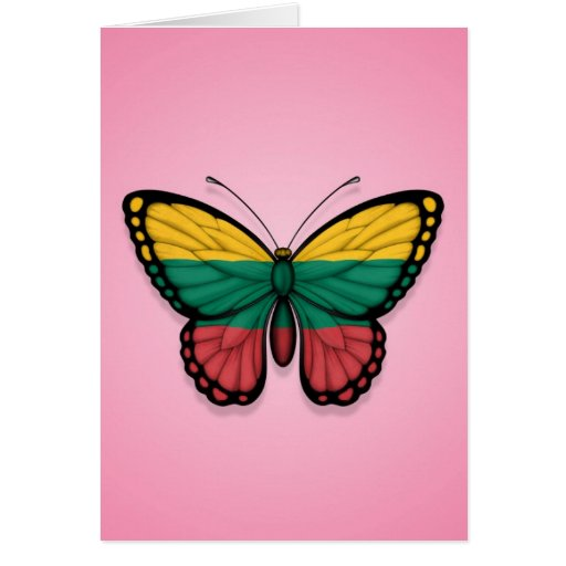 Lithuanian Butterfly Flag on Pink Greeting Cards