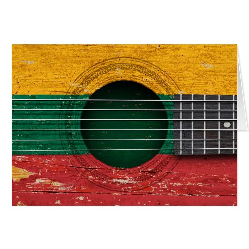 Lithuanian Flag on Old Acoustic Guitar Card