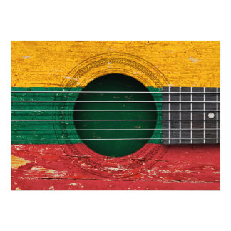 Lithuanian Flag on Old Acoustic Guitar Invitations