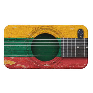Lithuanian Flag on Old Acoustic Guitar Cases For iPhone 4