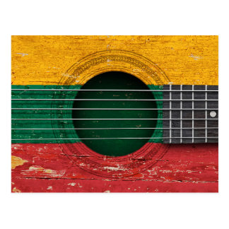 Lithuanian Flag on Old Acoustic Guitar Post Cards