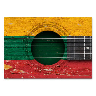 Lithuanian Flag on Old Acoustic Guitar Table Card