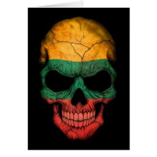 Lithuanian Flag Skull on Black Greeting Card