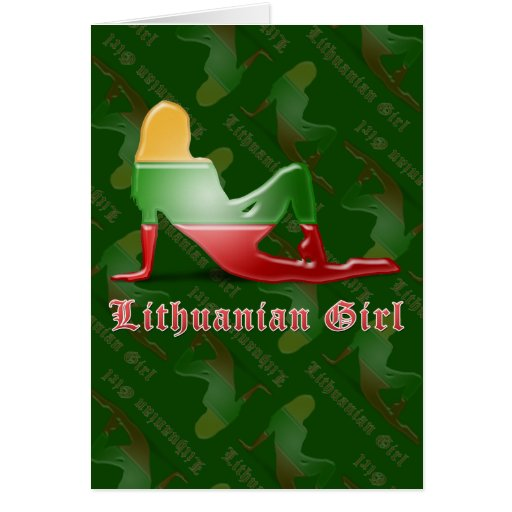 Lithuanian Girl Silhouette Flag Greeting Cards