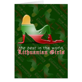 Lithuanian Girl Silhouette Flag Greeting Card