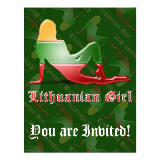 Lithuanian Girl Silhouette Flag Announcement