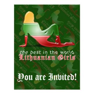 Lithuanian Girl Silhouette Flag Invites