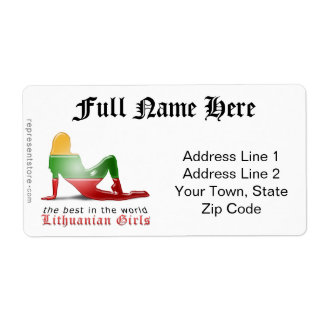 Lithuanian Girl Silhouette Flag Shipping Label