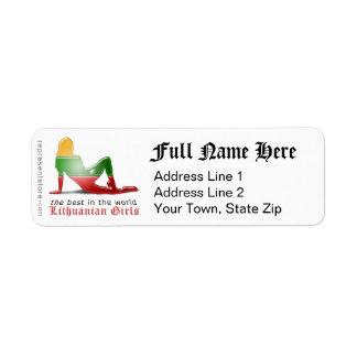 Lithuanian Girl Silhouette Flag Return Address Label