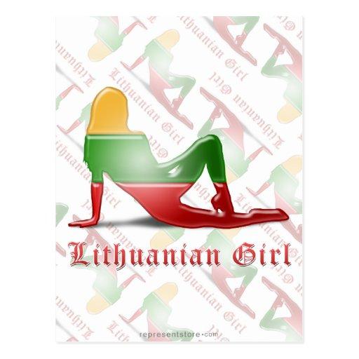 Lithuanian Girl Silhouette Flag Post Card