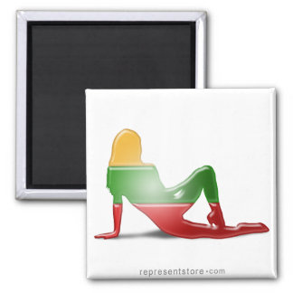 Lithuanian Girl Silhouette Flag Square Magnet