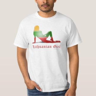 Lithuanian Girl Silhouette Flag Tee Shirts