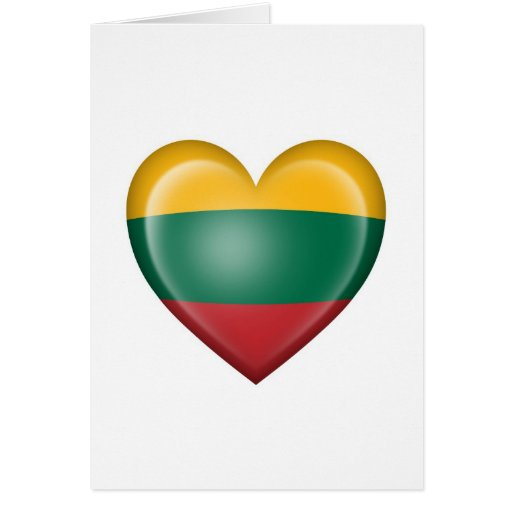 Lithuanian Heart Flag on White Greeting Card
