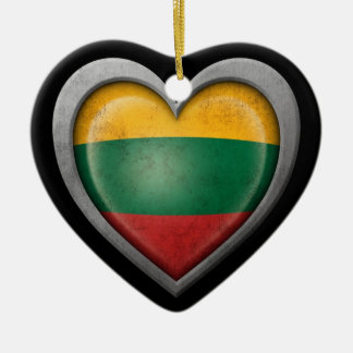 Lithuanian Heart Flag Steel Mesh Effect Ceramic Heart Decoration