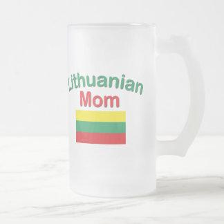 Lithuanian Mom Frosted Glass Mug