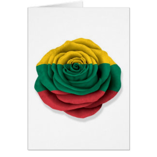 Lithuanian Rose Flag on White Greeting Card