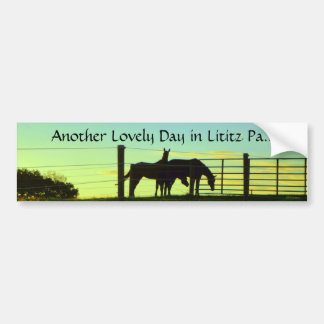 Lititz Pa.! Visit! Road Trip. Horses at Sunset! Bumper Sticker