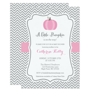 Litte Pumpkin Fall Baby Shower Invitation, Girl Card