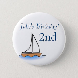 Litte Sailboat Nautical Birthday 6 Cm Round Badge