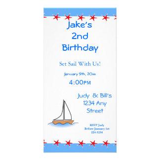 Litte Sailboat Nautical Birthday Personalised Photo Card