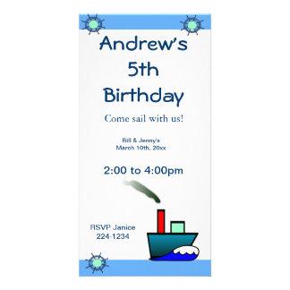 Litte Ship Nautical Birthday Personalised Photo Card
