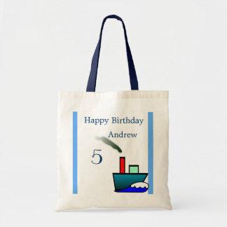 Litte Ship Nautical Birthday Budget Tote Bag