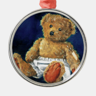 Little Acorn, a Favourite Teddy Silver-Colored Round Decoration