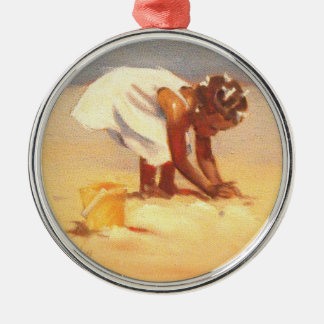 Little African Girl on Beach Silver-Colored Round Decoration