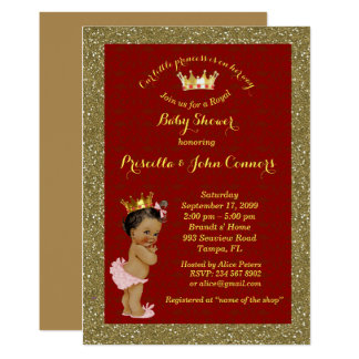 Little Afro Princess Baby Shower Invitation,red Card
