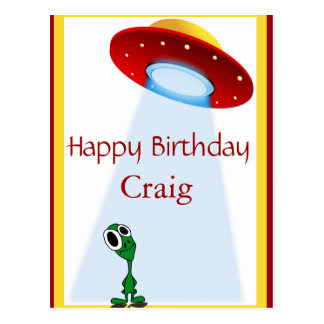 Little Alien Out Of This World Birthday Postcard
