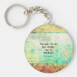 Little and Fierce quotation by Shakespeare Basic Round Button Key Ring