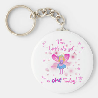 Little Angel 1st Birthday Tshirts and Gifts Basic Round Button Key Ring